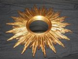 VINTAGE FRENCH CONVEX SUNBURST, STARBURST GOLD RESIN FRAMED MIRROR Ref: AAP17